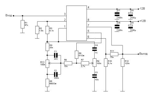 Схема предварительного усилителя и темброблока на основе сдвоенного ОУ типа МС33078 или. для одного канала) .